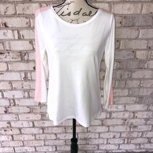 J Crew white and pink long sleeve shirt